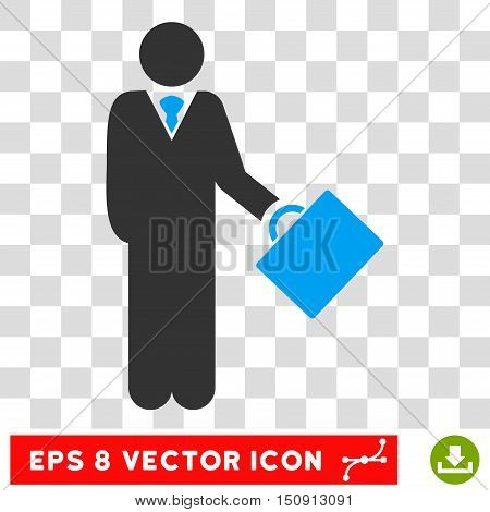 Vector Businessman EPS vector icon. Illustration style is flat iconic bicolor blue and gray symbol on a transparent background.