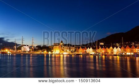 Harbor of Bergen during the blue hour Norway