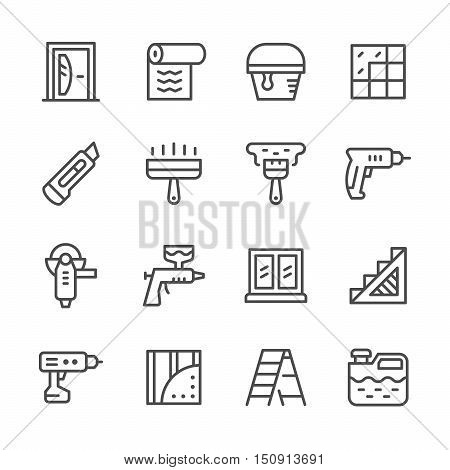 Set line icons of repair isolated on white. Vector illustration