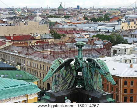 View of Saint Petersburg from above. Top view of Saint Petersburg. City center. Rooftops of Saint Petersburg. Russia.