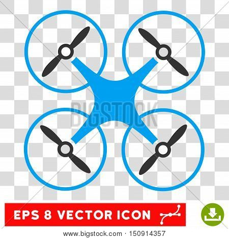 Vector Copter EPS vector pictogram. Illustration style is flat iconic bicolor blue and gray symbol on a transparent background.