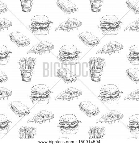 Hand drawn fast food pattern. Burger, pizza, french fries detailed illustrations. Great for restaurant menu or banner. Vector Eps10 illustration.