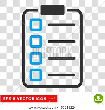 Vector Examination EPS vector icon. Illustration style is flat iconic bicolor blue and gray symbol on a transparent background.