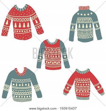 vector set of of cute hand drawn ugly Christmas sweaters on isolated background