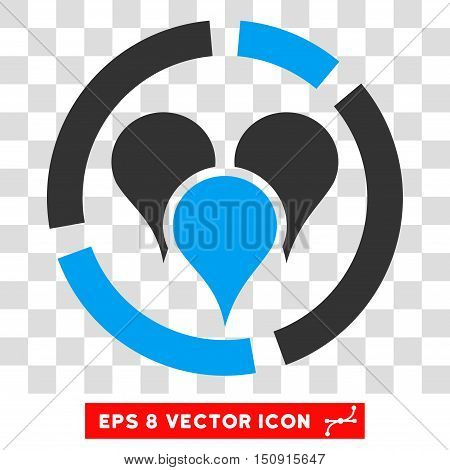 Vector Geo Diagram EPS vector icon. Illustration style is flat iconic bicolor blue and gray symbol on a transparent background.