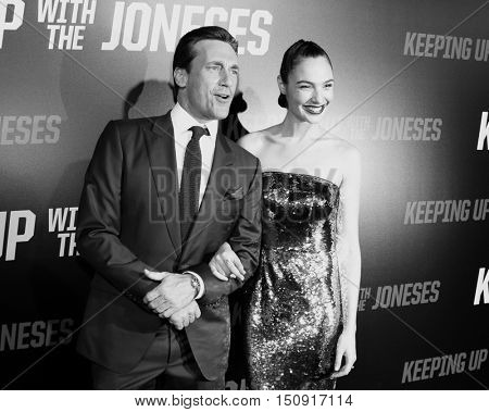 Jon Hamm and Gal Gadot at the Los Angeles premiere of 'Keeping Up With The Joneses' held at the Fox Studios in Los Angeles, USA on October 8, 2016.