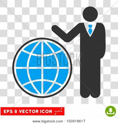 Vector Planetary EPS vector pictograph. Illustration style is flat iconic bicolor blue and gray symbol on a transparent background.