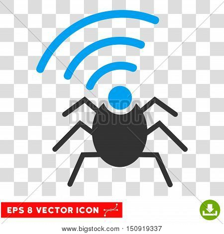 Vector Radio Spy Bug EPS vector pictogram. Illustration style is flat iconic bicolor blue and gray symbol on a transparent background.
