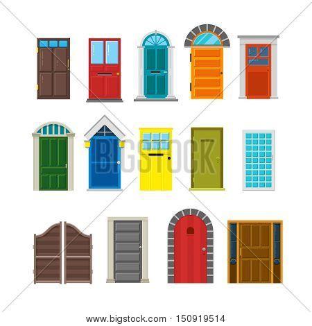 Front house doors flat vector set. Enter doorway to home illustration