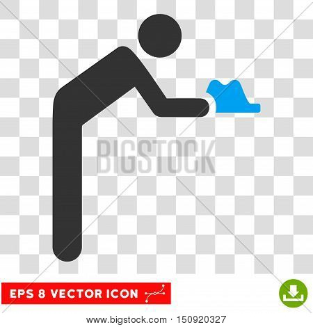 Vector Servant EPS vector pictogram. Illustration style is flat iconic bicolor blue and gray symbol on a transparent background.