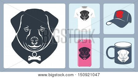 Vector Dog logo printing. Vector dog face logo. Vector dog emblem sign. Vector silhouette of a dog. Vector logo dog muzzle. Baseball cap, mug, T-shirt,  Phone Case