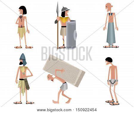 Vector illustration of a six egyptians set