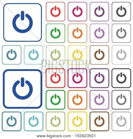 Set of power switch flat rounded square framed color icons on white background. Thin and thick versions included.