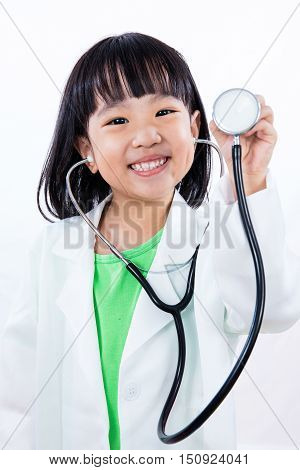 Happy Asian Chinese Little Girl Holding Stethoscope