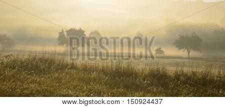 view of mystical sunrise South Bohemia Czech Republic