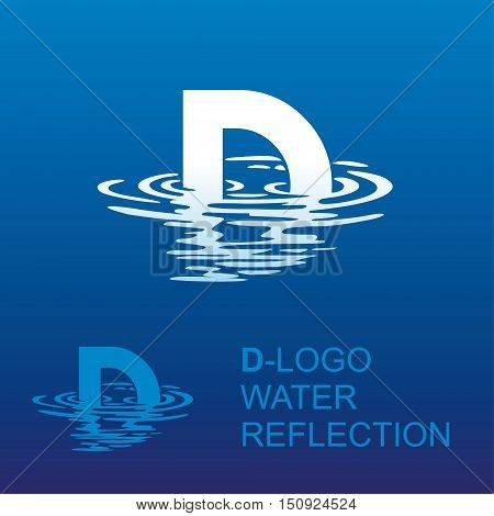 Template D brand name companies. Corporate style for the letter D: logo, background. Creative logo letter in the reflection in the water