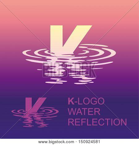 Template K brand name companies. Corporate style for the letter K: logo, background. Creative logo letter in the reflection in the water
