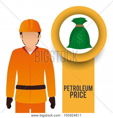 avatar man industrial worker with money sack. petroleum theme. vector illustration