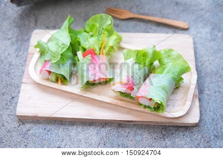 Fresh vegetable noodle spring roll diet food clean food salad