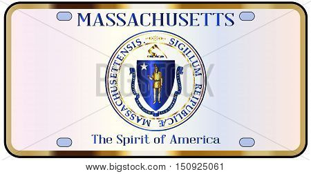 Massachusetts state license plate in the colors of the state flag with the flag icons over a white background