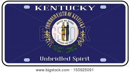Kentucky state license plate in the colors of the state flag with the flag icons over a white background