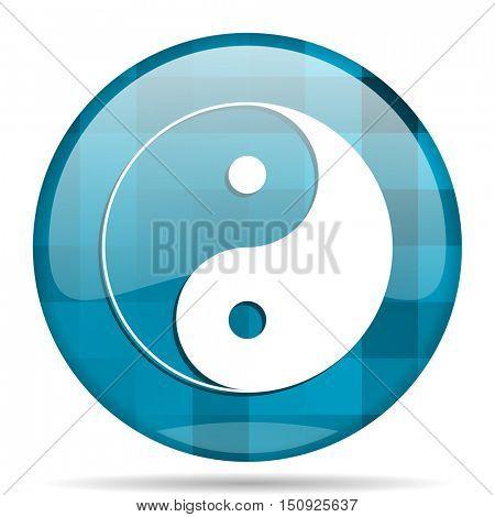 ying yang blue round modern design internet icon on white background
