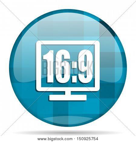 16 9 display blue round modern design internet icon on white background