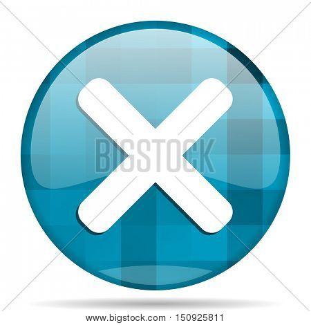 cancel blue round modern design internet icon on white background