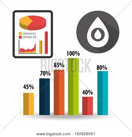 graphic bars and pie chart with oil drop icon. colorful design. vector illustration