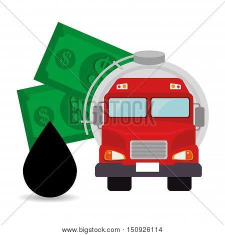 oil tank truck with money bills and drop. petroleum design. vector illustration