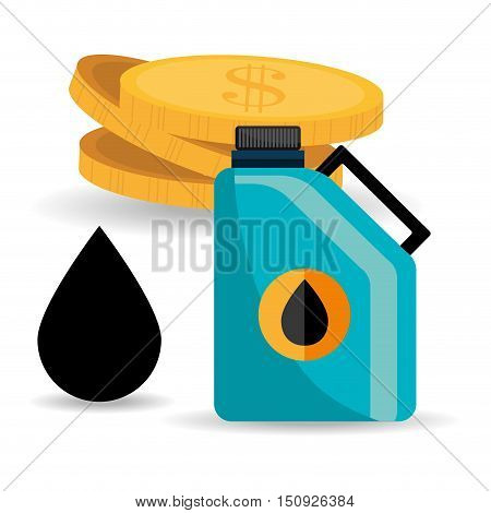gallon with black drop and money coins. oil and petroleum price design. vector illustration