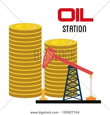 oil rig tower and money coins stack. petroleum industry price design. vector illustration