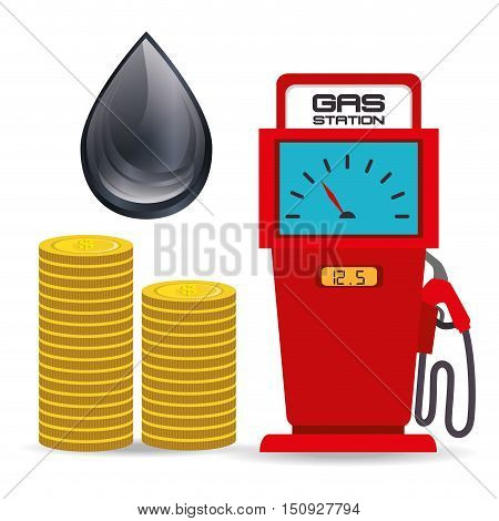 gas station pump with money coins and oil drop. petroleum price theme. vector illustration
