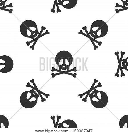 Halloween black skulls on white background seamless pattern