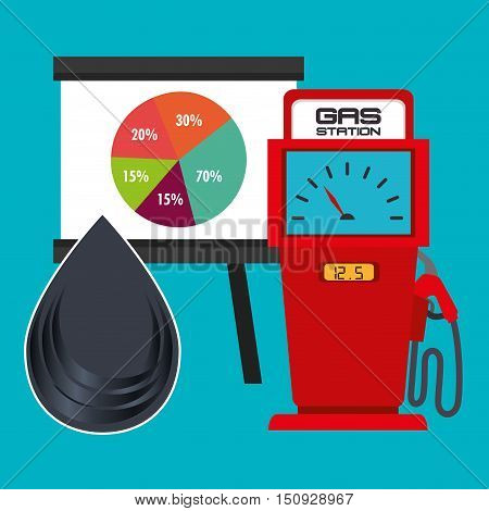 gas station pump with graphic pie chart and oil drop. petroleum theme. colorful design. vector illustration