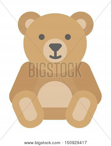 Gift toy bear isolated on white background. Valentine Gift symbol bear. Gift bear toy vector icon. Cute cartoon bear gift