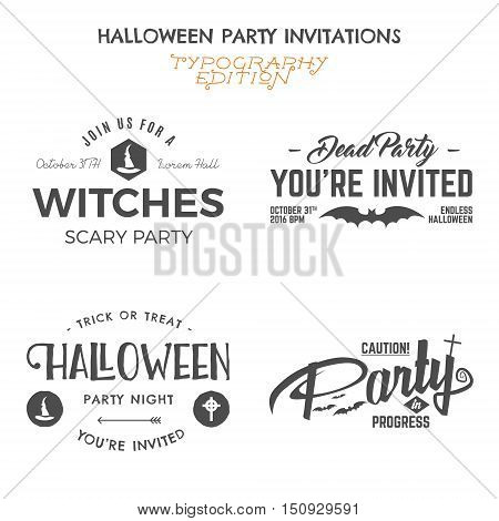 Halloween 2016 party invitation label templates with holiday symbols - witch hat, bat and typography elements. Use for party posters, flyers, cards, invitations, t-shirt, tee design, apparel. Vector.