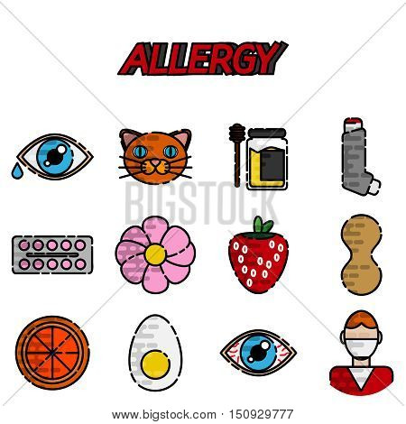 Allergy flat icons set isolated vector illustration