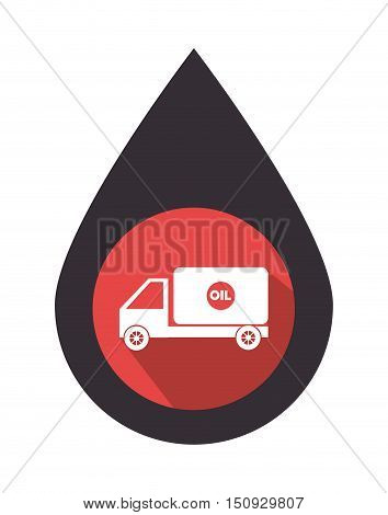 oil drop with tank truck over red circle. petroleum industry design. vector illustration