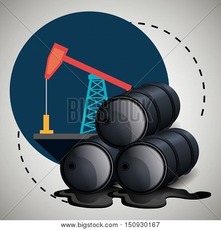oil rig tower and cans petroleum industry design. vector illustration