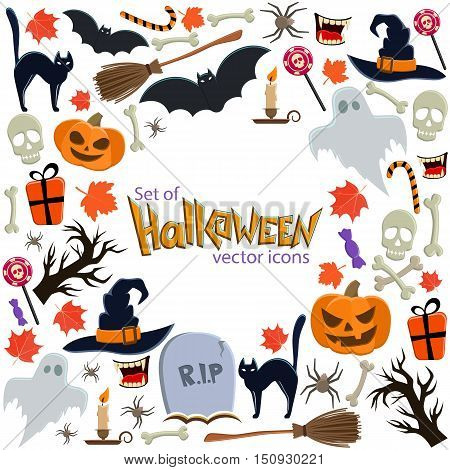 Background of Halloween icons with round frame. Template for packaging cards posters menu. Vector stock illustration.