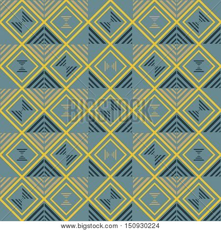 Abstract seamless geometric pattern of squares and striped triangles. Modern graphic print in elegant color palette, shades of blue and yellow. Vector illustration for fabric, paper and other