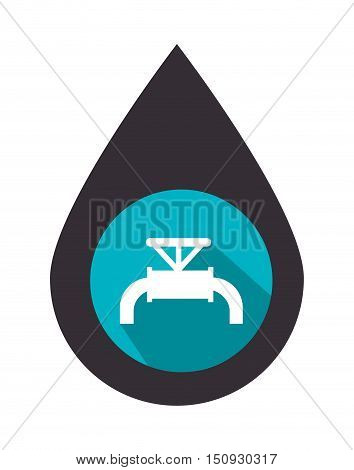 oil drop with tap over blue circle. petroleum industry design. vector illustration