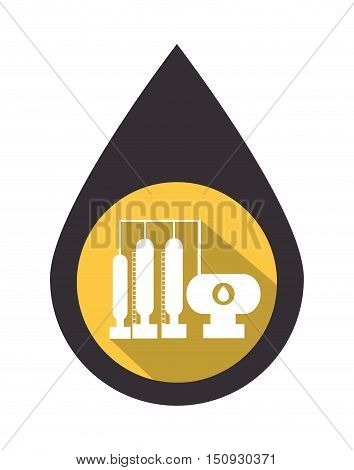 oil drop with industrial structure over yellow circle. petroleum industry design. vector illustration