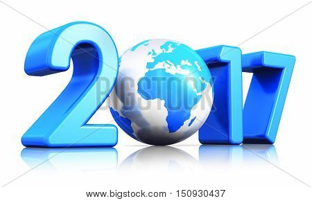 3D render illustration of  creative abstract New Year 2017 beginning celebration concept with blue glossy Earth globe isolated on white background with reflection effect