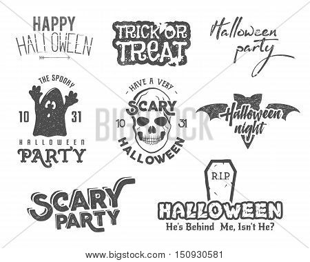 Halloween 2016 party vintage labels, tee designs with scary symbols - ghost, bat, skull and typography elements. Use for party posters, flyers, invitations. Print on t shirt, cards and other identity.