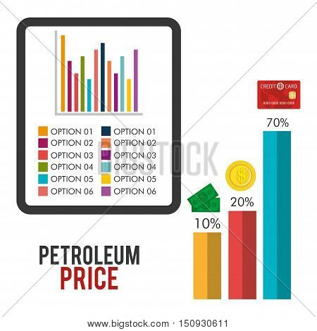 statistic colorful  financial graphic chart. petroleum price design. vector illustration