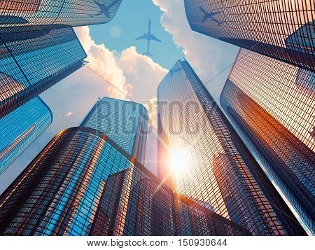3D render illustration of beautiful morning urban scenery with blue modern high tall glass reflective skyscrapers in city downtown district with sun light and airliner in dramatic sky with clouds