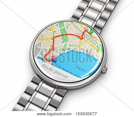 3D render illustration of stainless steel luxury digital smart watch or clock with color screen interface of GPS wireless navigation application and titanium bracelet isolated on white background