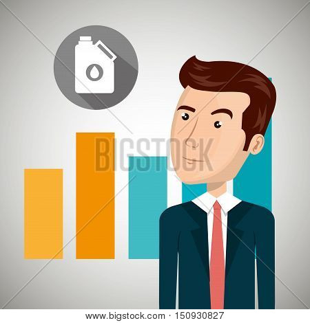 avatar man wearing suit and tie and graphic chart with oil gallon over gray circle. petroleum and oil design. vector illustration